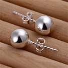 1 Pair Women's Silver Plating Smooth Round Ball Shape Ear Studs Earrings 8mm FE