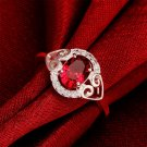 Women Simple Silver Plating Rings Red Ellipse Wedding Engagement Ring Gift FE