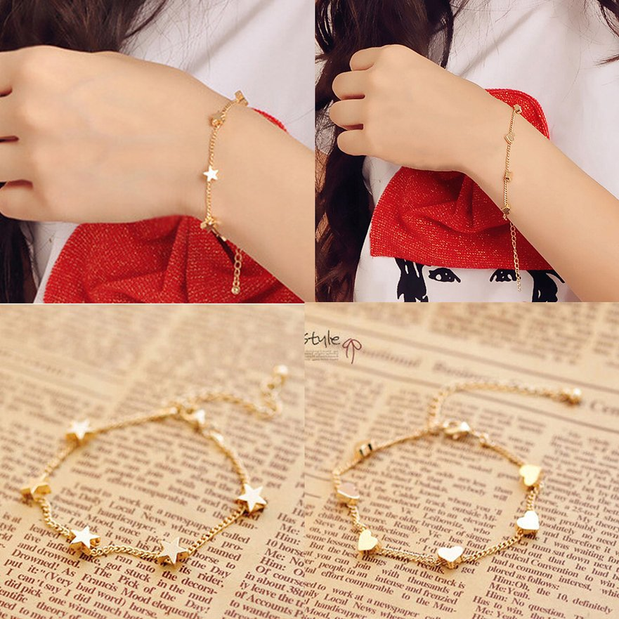 Fashion Charming Women's Five Star Pentagram Heart Shape Bracelet Chic Gift FE