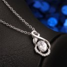 Women Fashion Silver Plating Charm Ellipse Pendant Crystal Chain Necklace FE