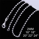 18 inch 2mm Fashion Jewelry Silver Plating Beads Chain Link Necklace DIY FE