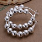 1 Pair Women's Silver Plating Full Round Beads Shape Ear Hoop Earrings 4.2cm FE