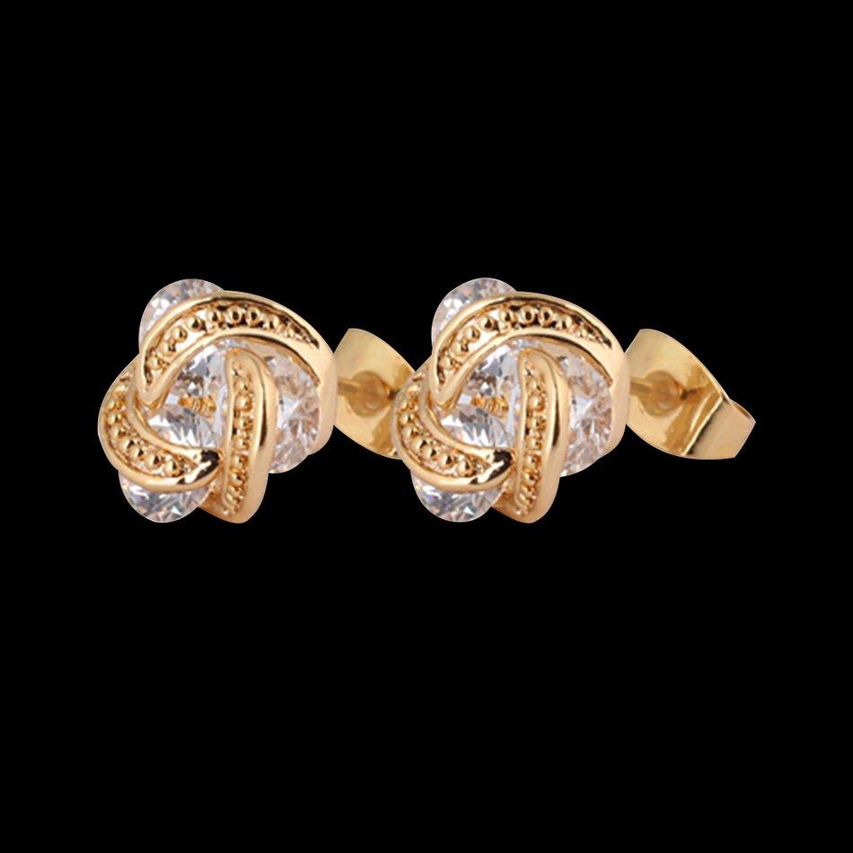 Women Girls Charm Gold Filled Wave Shaped Crystal Earrings Ear Studs Gift FE