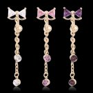 Cute Bowknot Long Dangle Navel Belly Ring Piercing Body Jewelry Rhinestone FE