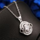 Fashion Women Lady Charm Ellipse Clear Crystal Heart Pendant Necklace Jewelry FE