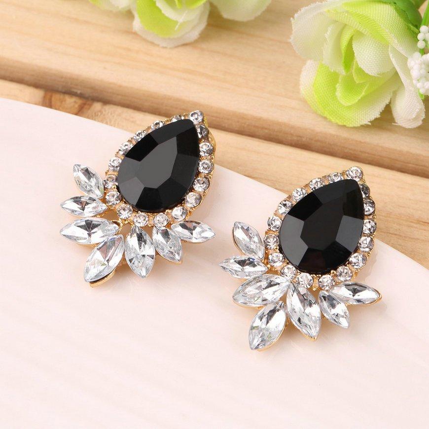 1 Pair Elegant Women Girls Water Drop Crystal Rhinestone Ear Studs Earring FE