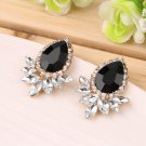 1 Pair Elegant Women Girls Water Drop Crystal Rhinestone Ear Studs Earring FE