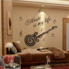 Music is my life Guitar Pattern Vinyl Decal Sticker Wall Decals Home Decor FE