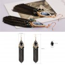 1 Pair New Crystal Bohemia Retro Tassels Long Chain Dangle Earring Ear Hook FE