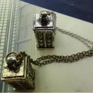 "Vintage 3D Police Box Metal Tall Pendant 20"" Long Chain Necklace FE"