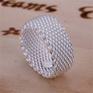 New Fashion Silver Plating Curb Chain Link Wide Finger Band Ring Jewelry FE