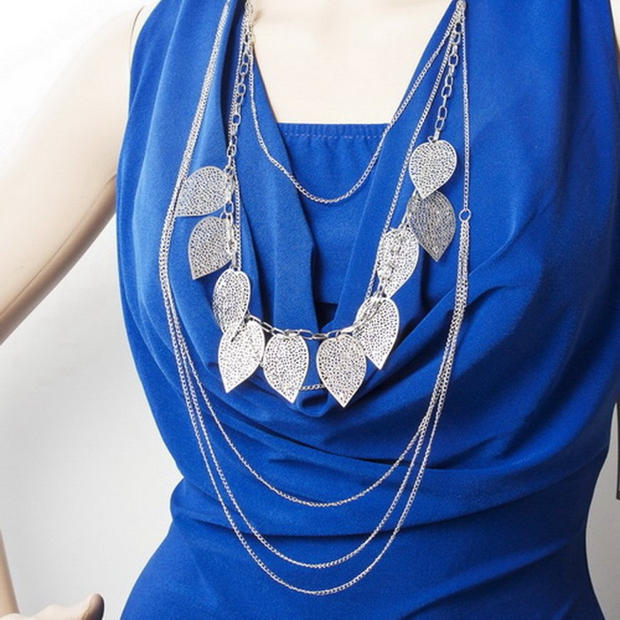 Bohemia Leaf Multilayer Necklace Pendant Womens Long Sweater Charms Chain FE