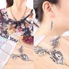 Women Crystal Rhinestone Vintage Flower Leaf Necklace Earrings Jewelry Set FE