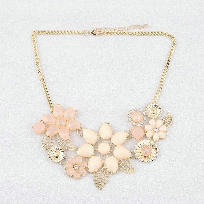 Fashion Womens Pink Flower Choker Bib Statement Necklace Collar Chain Pendant