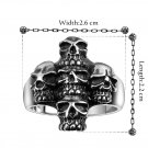 Goth Heavy 316L Stainless Steel Skull Head Finger Ring Size 8  Jewelry FE