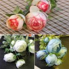 1Pcs Heads Simulation Artificial Flower Rose Bouquet Bride Holding Home Decor FE