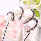 Women Bridal Wedding Crystal Rhinestone Petal Comb Flower Hair Pin Clip FE