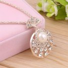 Fashion Jewelry Pearl Crystal Rhinestone Round Pendant Chain Necklace FE