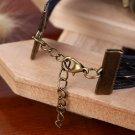 Multi-Layer PU Leather Bangle Bronze Owl Wristband Bracelet Black FE