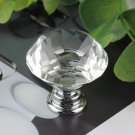 3PCS 30mm Diamond Clear Crystal Glass Door Pull Drawer Knob Handle Cabinet FE