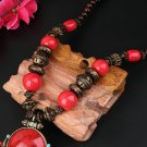 Women Girls Bohemia Wood Bead Brass Bell Big Gem Stone Long Pendant Necklace FE