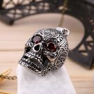 Personalized Jewelry Retro Punk Titanium Steel Red Eye Skull Shape Pendant FE