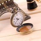 Antique Vintage Bronze Tone Pendant Pocket Quartz Watch Chain Necklace Gift FE
