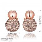 Elegant Round Shaped Faux Crystal Alloy Zircon Rose Golden Earrings for Gift FE