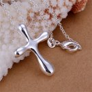 Fashion Silver Water Drop Shaped Design Cross Necklace Accessory Gift FE