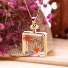 New Natural Real Dried  Flower Rectangle Locket Glass Pendant Necklace FE
