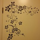 Black Flowers Removable Wall Stickers For Home Room Art decor DIY FE