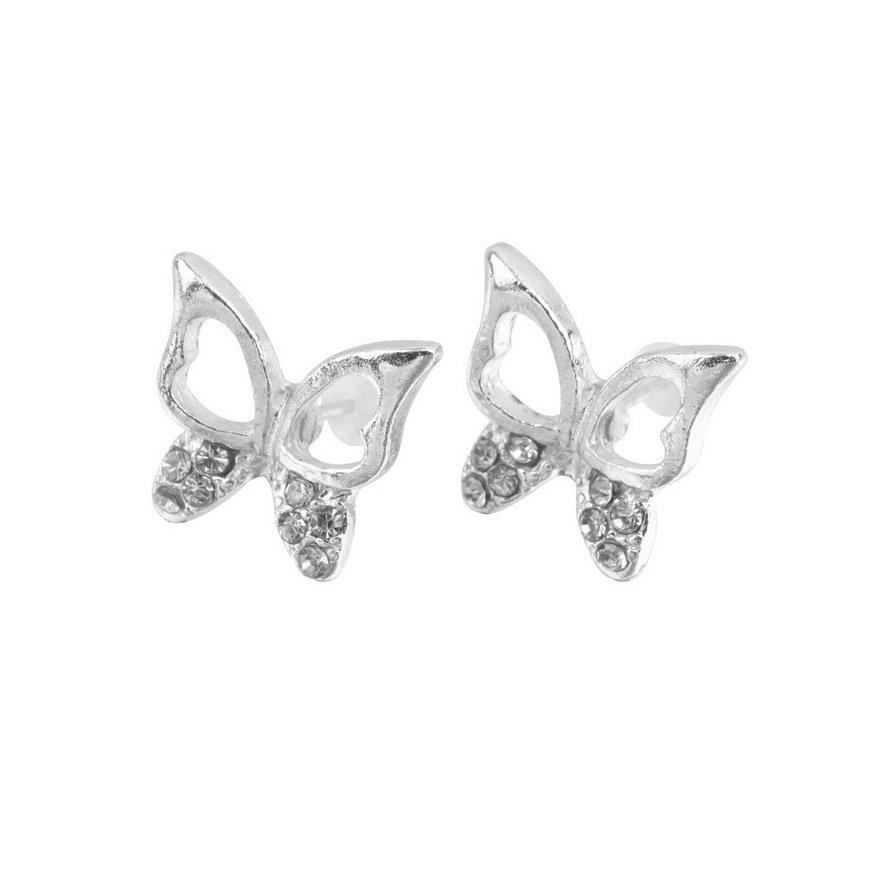 Fashion Cute Ladies Girls Rhinestone Butterfly Ear Stud Earrings Jewelry Gift FE