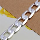 12mm Men's Silver Plating Charm Flat Curb Link Bracelet Bangle Jewelry FE