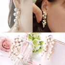 1 Pair Luxury Clear Crystal Long Tassel Pearl Chain Earrings Ear Stud Gift FE