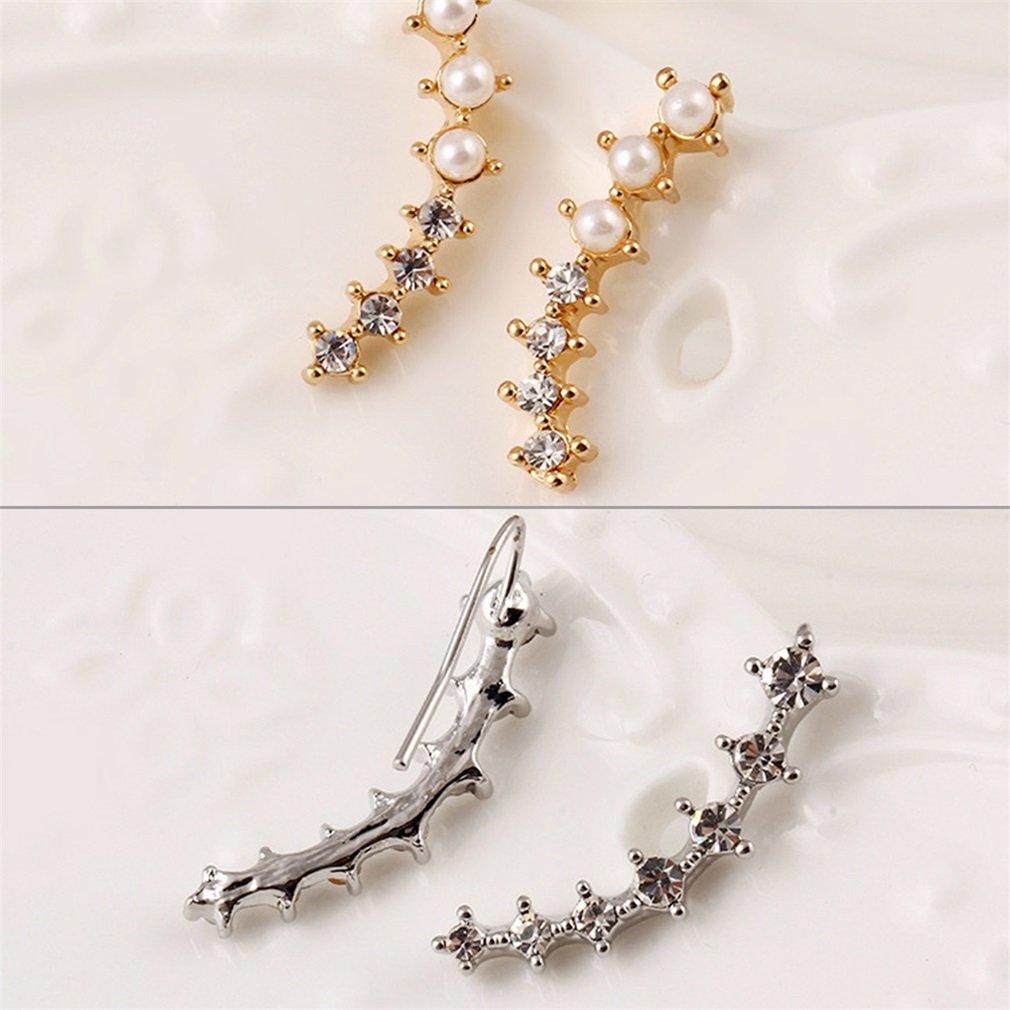 2pc Crystal  Pearl Earrings Ear Hook Jewelry Gifts Gold Plated Earrings  FE