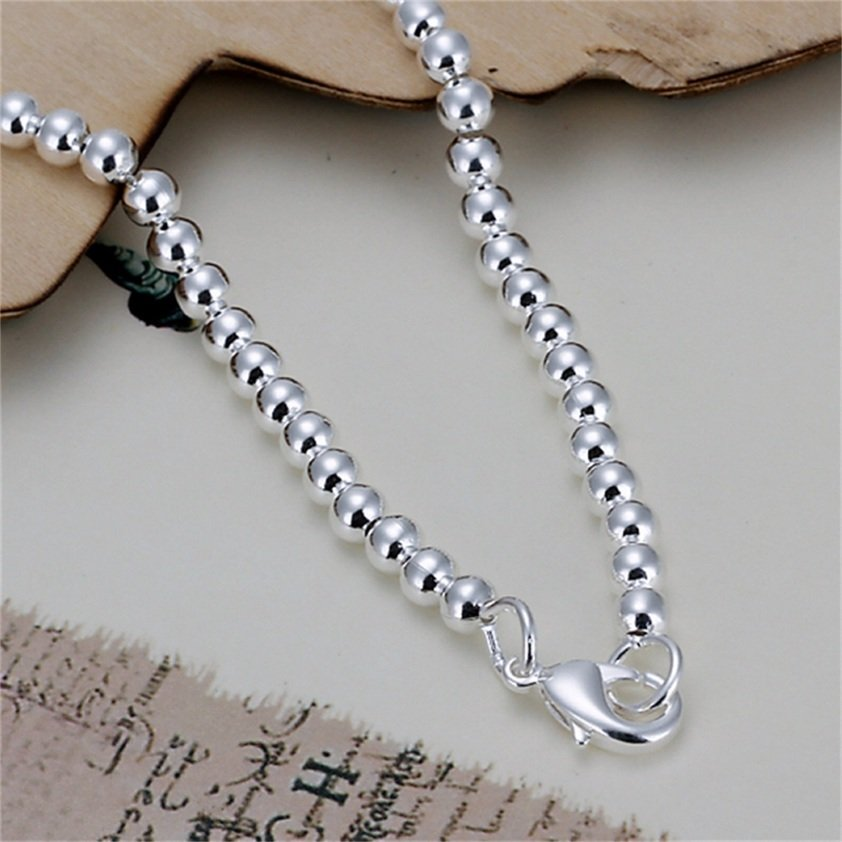 4mm Unisex Silver Plating Hollow Round Beads Bracelet Bangle Jewelry New FE
