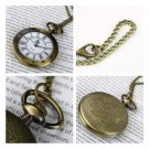 Antique Bronze Roman Numerals Chain Necklace Pendant Quartz Pocket Watch GP