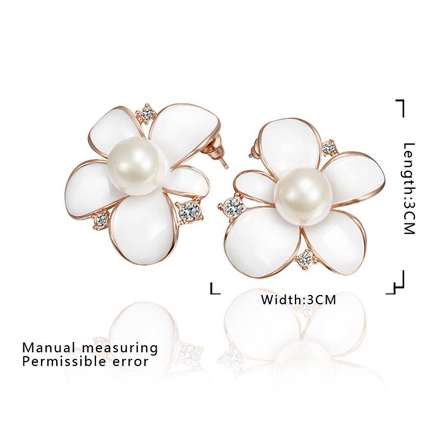 Sweet Lovely Flower Pattern Faux Pearl Rose Gold-plated Earrings for Gift FE