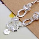 H081 Women's Silver Plated Heart Lock Bracelet Bangle Wrist Chain Link Gift FE