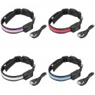 USB Solar Charging LED Night Safety Flash Pet Dog Collar Adjustable Size M FE