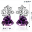 Women's Platinum Plating Butterfly Heart Zircon Crystal Ear Stud Earrings FE
