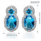 New Fashion Luxury Jewelry Diamonds Blue Zircon Earrings Plated Ear Studs FE