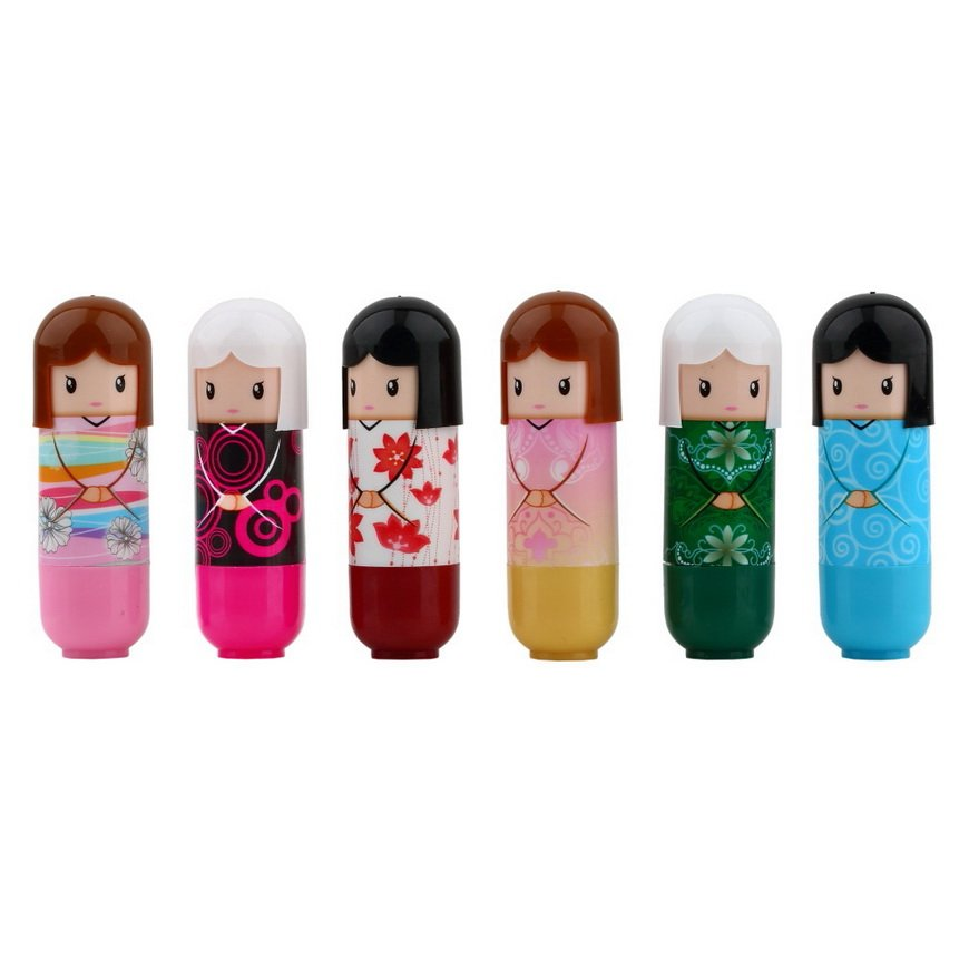 Cute Lovely Kimono doll Pattern colorful Girl Lip Lipstick present FE