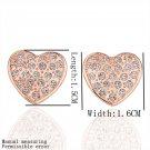 Cute Heart Shaped Faux Crystal Alloy Zircon Rose Golden Earrings Gift FE