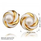 Girls Round Shaped Faux Pearl Gold-Plated Alloy Eardrops Studs for Gifts FE