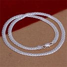 20 inch 5mm Silver Plating Charm Flat Curb Link Chain Necklace Jewelry FE
