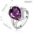 New Luxury Jewelry Party Water Drop Purple Zircon Ring Plated Diamond Ring FE