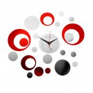 DIY 3D Clock Pattern Acrylic Mirror Wall Stickers Affixed Home Backdrop FE