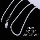 18 inch 2mm Fashion Jewelry Silver Plating Snake Chain Link Necklace DIY FE