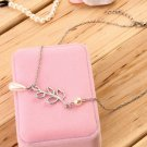 Women Retro Faux Pearl Leaves Shape Necklace Chain Collar Pendant Jewelry FE